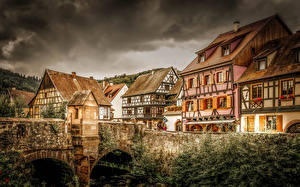 Bilder Frankreich Gebäude Brücken HDRI Kaysersberg Städte