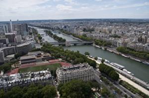 Fotos Frankreich Gebäude Flusse Brücken Paris Horizont Von oben river Seine Städte