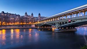 Fotos Frankreich Fluss Brücken Abend Paris river Seine, bridge of bir-Hakeim Städte