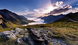 Hintergrundbilder Frankreich Sonnenaufgänge und Sonnenuntergänge Berg Steine Landschaftsfotografie Wolke La Mongie Midi-Pyrenees Natur