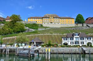 壁纸、、ドイツ、城、湖、桟橋、住宅、、