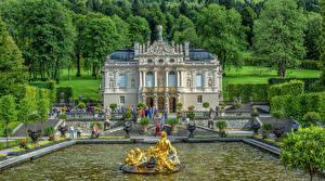 Fotos Deutschland Springbrunnen Skulpturen Bayern Palast Treppe Bäume HDRI Linderhof Städte