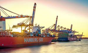 Bilder Deutschland Hamburg Flusse Seebrücke Schiffe Containerschiff Städte