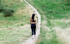 Hintergrundbilder Gras Weg Brünette Wanderung Hinten Sport