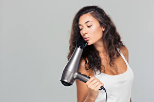 Image Gray background Brown haired Hair Hair dryer Singlet