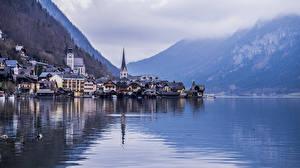 壁纸、、ハルシュタット (オーバーエスターライヒ州)、オーストリア、湖、住宅、山、海岸、