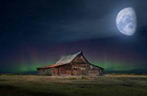 Fotos Gebäude Mond Nacht Aus Holz Aurora borealis