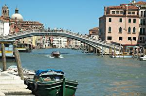 壁纸、、建物、モーターボート、橋、イタリア、運河、ヴェネツィア、Scalzi Bridge, Grand canal、