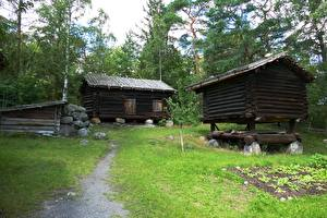 Image Houses Stone Sweden Stockholm Wooden Trail Grass Skansen Cities