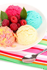 Wallpapers Ice cream Raspberry Balls Multicolor Spoon Food