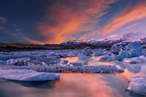 Hintergrundbilder Island Küste Sonnenaufgänge und Sonnenuntergänge Eis Jokulsarion Lagoon Natur