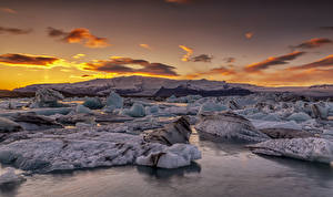 Fotos Island Sonnenaufgänge und Sonnenuntergänge Küste Eis Natur