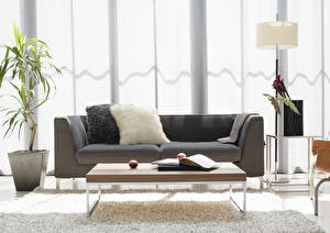 Image Interior Lounge sitting room Lamp Table Books Couch Pillows Design