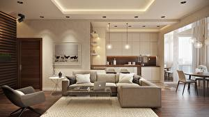 Picture Interior Table Wing chair Couch Pillows Laptops Design Ceiling