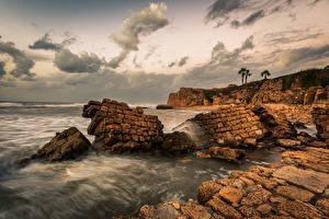 Bilder Israel Abend Küste Meer Felsen Haifa Natur