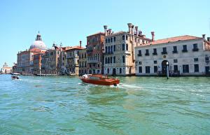 壁纸、、イタリア、建物、モーターボート、ヴェネツィア、運河、Canal Grande、