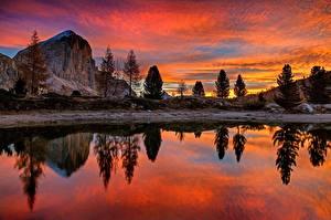 Fotos Italien Sonnenaufgänge und Sonnenuntergänge See Bäume Felsen Spiegelt Lago Di Limides, Veneto, Dolomites Alps