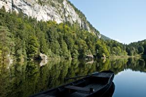 Bilder See Boot Gebirge Wälder Österreich Felsen Alpen Berglsteiner See, Kufstein, Tyrol