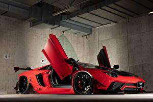 Fotos Lamborghini Rot Offene Tür 2013-19 Performance Aventador Limited Edition auto