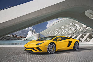 Hintergrundbilder Lamborghini Gelb Metallisch 2017-19 Aventador S Worldwide automobil