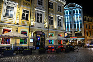 Pictures Latvia Building Street Cafe Night Riga