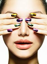 Bilder Lippe Finger Gesicht Maniküre Mädchens