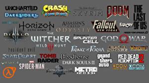 壁纸、、ロゴエンブレム、The Witcher 3: Wild Hunt、フォールアウト、ダークソウルズ、ドゥーム、はディアブロ、グランド・セフト・オートシリーズ、アサシン クリード、グレーの背景、