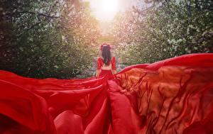Fondos de Pantalla Vestido Rojo Vista Trasera Malika Drobot Chicas
