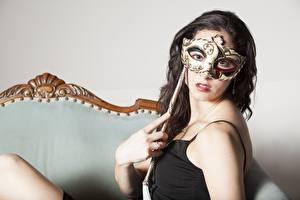 Images Masks Brunette girl Glance Hands Girls