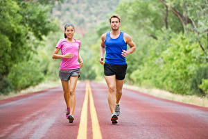 Images Men Two Physical exercise Running Uniform young woman Sport