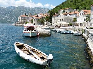 壁纸、、モンテネグロ、桟橋、ボート、建物、Perast, Boko Kotor Bay、