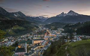 Bilder Berg Deutschland Sonnenaufgänge und Sonnenuntergänge Felsen Schnee Alpen Bayern Berchtesgaden, Berchtesgadener Land Städte