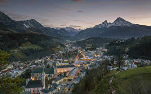 Pictures Mountain Germany Sunrises and sunsets Crag Snow Alps Bavaria Berchtesgaden, Berchtesgadener Land Cities