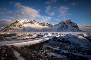 Bilder Gebirge Island Schnee Auster-Skaftafellssysla Vestrahorn
