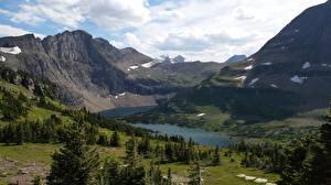 Bilder Gebirge See Parks Vereinigte Staaten Felsen Montana, Glacier National Park
