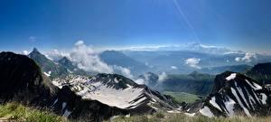 Hintergrundbilder Gebirge Landschaftsfotografie Alpen Schnee Gras Mont Blanc