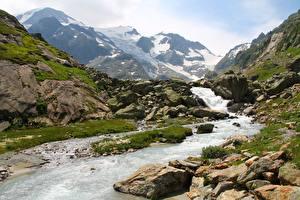 Fonds d'écran Montagnes Pierres Suisse Ruisseau Susten Pass Nature