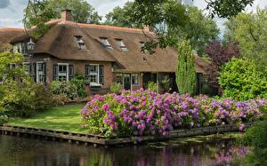 Bilder Niederlande Haus Hortensien Eigenheim Design Kanal Giethoorn Overijssel Städte