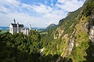 Image Neuschwanstein Germany Castles Mountain Forests Rock Bavaria Nature
