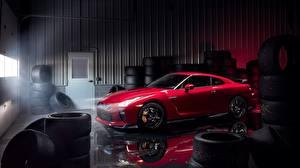 Обои Ниссан Красная Гараже Металлик GT-R Track Edition 2017 Автомобили