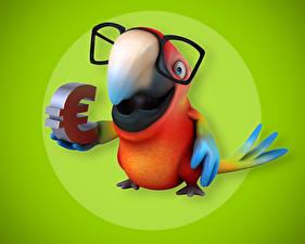 Photo Parrots Euro Colored background Glasses Beak 3D Graphics