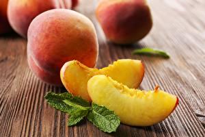 Bilder Pfirsiche Stücke Minzen Lebensmittel