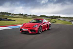 Fondos de Pantalla Porsche Rojo Movimiento 718 (982) Cayman GT4 Coches