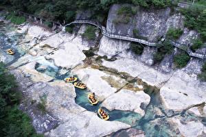 Fotos Rafting Fluss Boot Japan Felsen Minakami, Prefectural Gummi, Tone District Sport