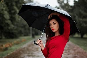 Image Rain Umbrella Brunette girl Glance