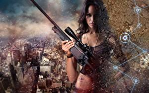 Image Rifles Sniper rifle Zoe Saldana Colombiana Movies Girls Celebrities