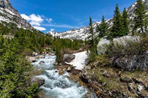 Bilder Fluss Park Berg Steine USA Grand Teton National Park, Wyoming