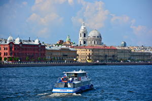 Fotos Flusse Binnenschiff Gebäude Russland Sankt Petersburg Kuppel Städte