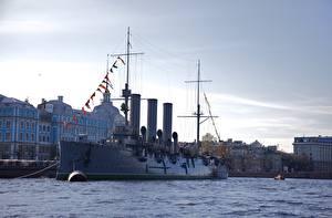 Fotos & Bilder Flusse Schiffe Russland Sankt Petersburg Cruiser Aurora Städte