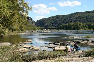 Bilder Flusse Steine Brücken Vereinigte Staaten Felsen Potomac River Natur